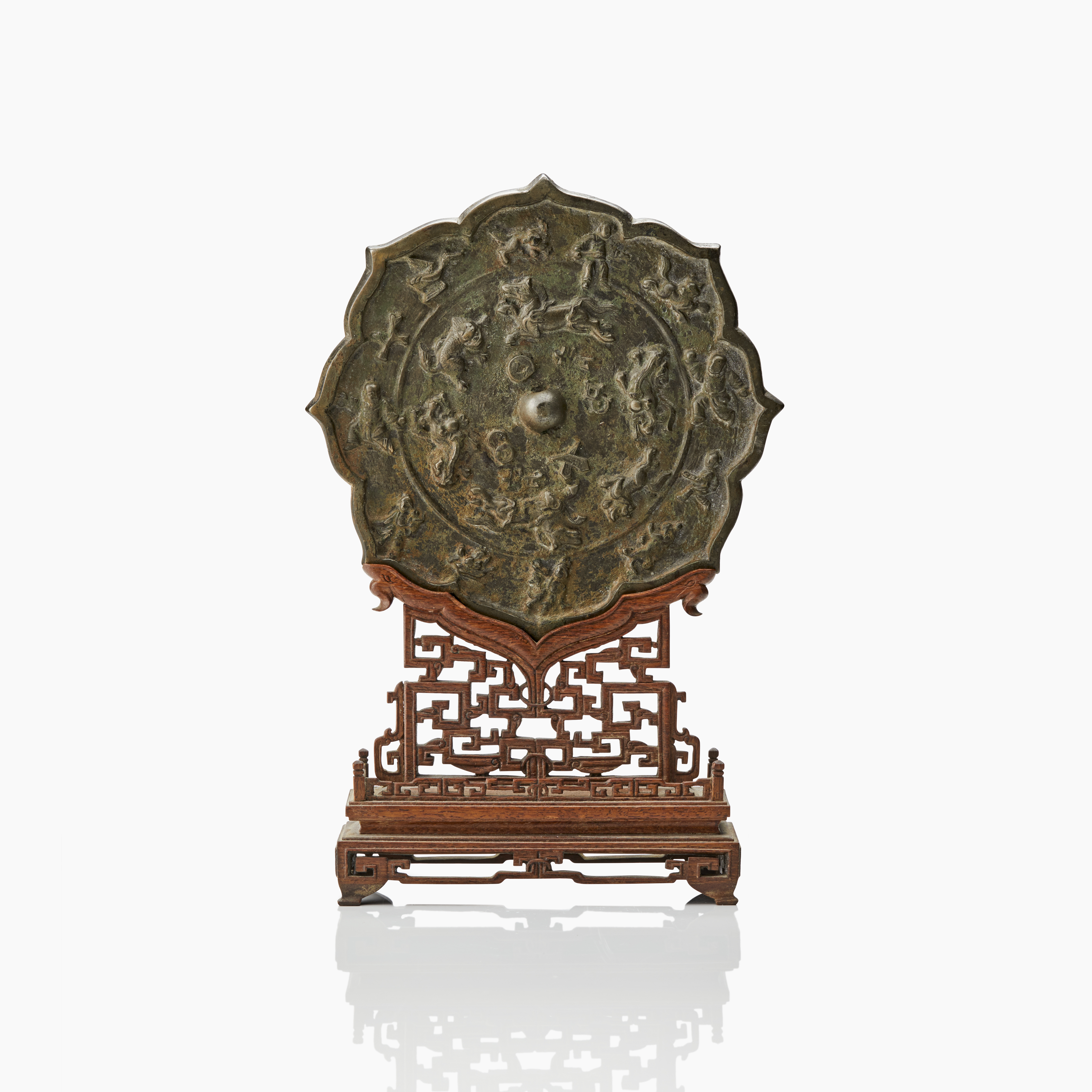1208  A bronze mirror in a carved stand - Important sale 5